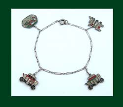 Enamel and Rhinestone Travel Charm Bracelet