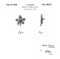 Trifari Rhinestone Maple Leaf Design Patent