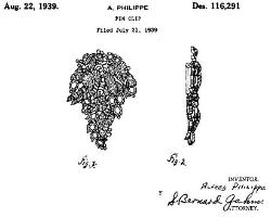 Trifari Fur Clip Design Patent