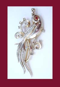 Trifari Sterling Vermeil Bird of Paradise Brooch