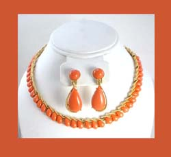 Trifari Plastic Coral Necklace and Earrings