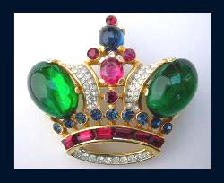Trifari Rhinestone Crown Pin