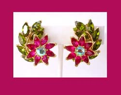 Trifari Fuchsia Rhinestone Flower Earrings