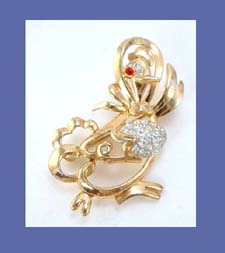 Trifari Mother Goose Rhinestone Pin