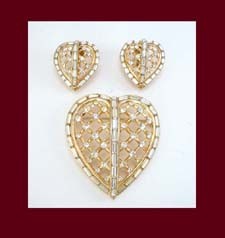 Trifari 1950s Rhinestone Heart Pin and Earrings