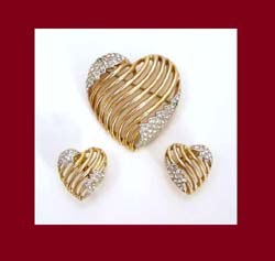 Trifari Charming Rhinestone Heart Pin and Earrings