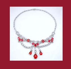 Trifari Red and Clear Rhinestone Necklace
