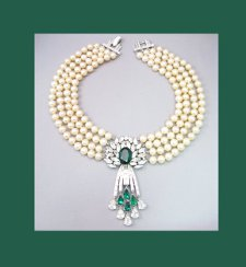 Trifari Glass Pearl and Emerald Rhinestone Necklace