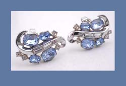 Light Blue & Clear Rhinestone Earrings by Trifari