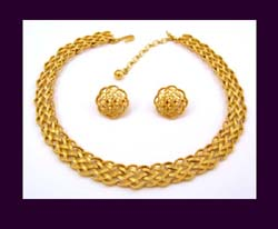 Trifari Golden Weave Necklace and Earrings