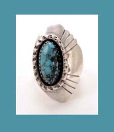 Navajo Sterling Turquoise Assymetrical Ring