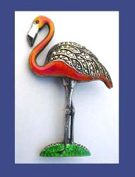 Uncas Sterling Enamel Flamingo Pin