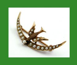 Victorian 10k Gold Bird with Seed Pearls Crescent Pin