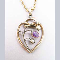 Amethyst and Pearl 9ct Gold Pendant