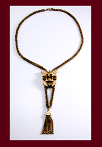 Victorian Garnet and Pearl Large Slide Necklace