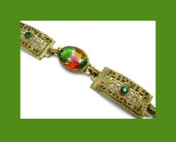 Golden Filigree and Watermelon Rhinestone Bracelet Close
