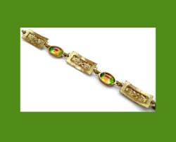 Golden Filigree and Watermelon Rhinestone Bracelet Back