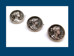 Victorian Sterling Woman Trio Pins
