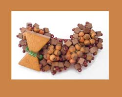 Fantastic Wooden Beaded Brooch